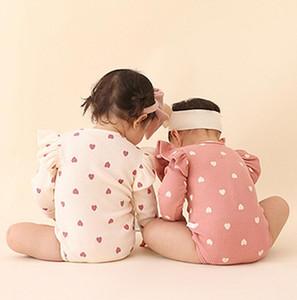 새로운 베이비 바디 슈트 Rompers 베이비 러빙 니트 양모 의류 소녀 발렌타인 데이 Little Love Long Sleeve Climbing Clothesing