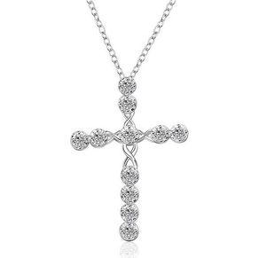 Стерлингового серебра 925 CZ Алмазный Кристалл Распятие ожерелье Engagement Wedding женщин ювелирные изделия Подвески Крест ожерелье Crafts аксессуары