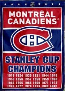 150 cm * 90 cm Montreal Canadians Stanley Cup Champions Flag 3 * 5FT poliestere personalizzato decorativo appeso casa bandiera per la decorazione