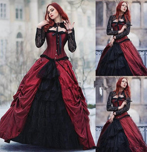 Burgundy Gothic Victorian Halloween Wedding Dresses 2020 Vintage Wine red and black Sheer Lace Long Sleeve Plus Size Corset Wedding Gown