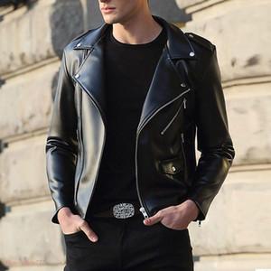 Cuero de la PU Hombres Motocycle Punk Faux Leather Zipper Short Coat Slim Jacket Outwear