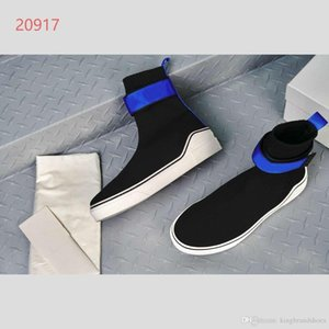 2019 new men's stretch knit socks shoes thick soles sports casual shoes black color and blue band high-top sports socks and boots