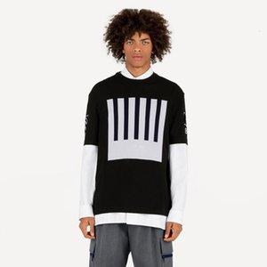 19FW Jacquard Monogram Wool Plend Kintting T-shirt Earth Bar code Logo Jacquard Fashion T Sheit Short Slee T-shirt HFYMTX617