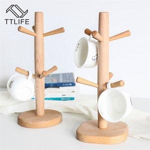 TTLIFE 6 ganchos de taza del sostenedor del estante de madera cocina para guardar objetos de drenaje del estante del sostenedor del vidrio de vino taza de almacenamiento en rack Escurridor Plataforma Organizador T200506
