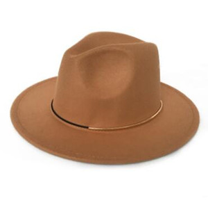 Moda imitação de lã Cap Mulheres Outback Fedora Hat para outono-inverno Senhora elegante Floppy Cloche Aba larga Jazz Caps