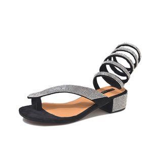 Para mujer de plata chancletas de los talones de tipo serpiente del Rhinestone sandalias planas del verano Mujer bajo atractivo de la mujer NEGRO sandalia talones cómodos