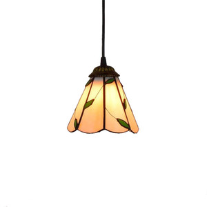 Leisurely rural style Tiffany stained glass restaurant bar small chandelier American retro hotel leaf art glass lamp TF004