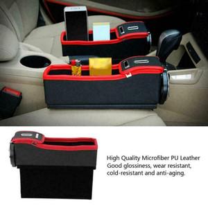 Car Seat Crevice Organizer Storage Box Cup PU Leather Drink Holder Auto Gap Pocket Stowing Tidying For Phone Pad Card Coin Case