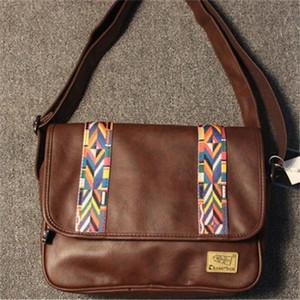 wholesale men handbag Japan and South Korea trend leather Messenger bag casual retro striped men bag England Ribbon leather messenger bag