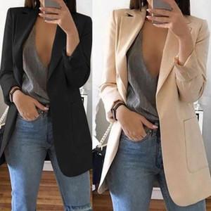 Vintage Femmes manches longues Slim Fit Casual Blazer Costume Manteau Veste Manteaux Blazers FEMMA Mode formelles