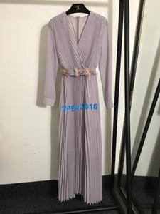 haute perles v-cou femmes fin filles robe longue robe ceinture florale manches longues Jupe design de mode de piste luxe milan robe chemise pleate