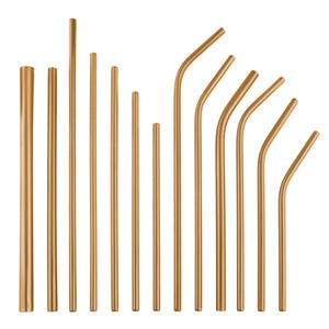 Rosa de Ouro linha reta e dobrar reutilizável de aço inoxidável Palhinhas metal colorido palha partido casamento Family Kitchen Bar Ferramentas de Beber