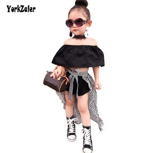 Yorkzaler Toddler Girls Summer Clothing Set Off Spalla a righe Girl Dressing Bambini Infant Party Wedding 3pcs Vestiti Suit SH190912