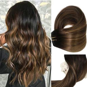 ملحقات مقطع مستقيم الشعر البرازيلي 120 غرام لكل حزمة أومبير balayage اللون # 1B يتلاشى إلى # 6 متوسط البني 100٪ ريمي الشعر الحقيقي