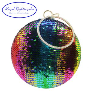 Royal Nightingales Multicolored Sequin Round Evening Bags and Clutch Bags Purses Handbags for Womens Wedding Prom Evening Party CJ191209