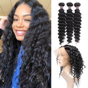 8A 브라질의 인간의 머리카락 묶음 깊은 웨이브 머리 360 레이스 정면 3 번들 100 % 처리되지 않은 버진 인간의 머리카락 확장