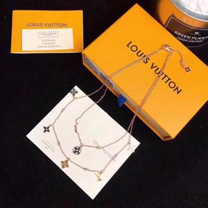 2020 mujeres de la joyería de diseño de lujo collar de doble capa diseñador collar de la joyería suéter delicado collar tallado de alta calidad