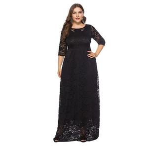 6XL Plus Size Dress Fashion Women Elegant Sweet Hallow Out Lace Dress Sexy Party Princess Summer Vintage Dresses Vestidos #W