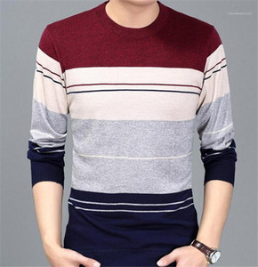 Neck Long Sleeve Mens Sweaters Casual Males Clothing Stripe Line Print Mens Designer Sweaters Fashion Slim Crew