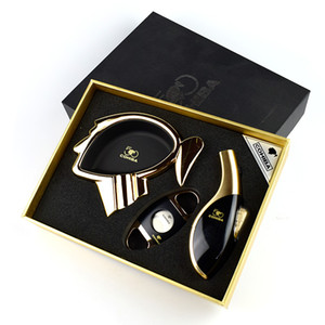 Новое прибытие роскошные высококачественные сигары набор с факелом зажигалка сигары резак и пепельница имеет черную подарочную коробку хороший подарок для друга