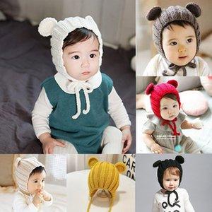 Kış Sevimli Bebek Tavşan Kulakları Çocuk 1-2Y İçin Şapka Bebek Çocuk Yün Cap Örme