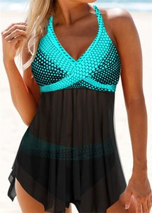 2020 Sexy Black Mesh maillot de bain grande taille Maillots de bain Femme Push Up Maillot de Bain Plaid Imprimer Bikinis Ensemble Jupe fil Bikini 7XL 8XL