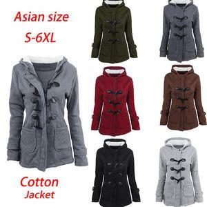plus size  Womens winter coats hooded medium-long cotton coat Horn buckle zipper hood jackets windbreaker asian size S-6xl