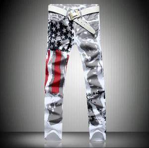 Pop2019 U.s.a Jeans con stampa bandiera nazionale Amazon High Elastic Slim Cool Time Stella a cinque punte Red Bar Codice lunghezza Pantaloni