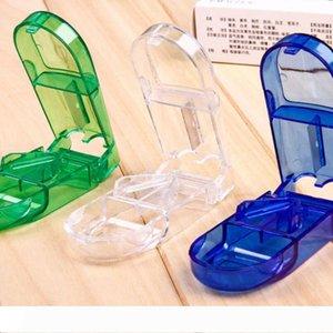 Pílula cortador Splitter Metade Compartimento de Arrumação Caixa Medicine Tablet Titular Home Storage Box 3 cores LX5066