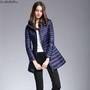 AreMoMuWha Offerta speciale sottile piumino sezione lunga sottile coreana di moda per donna Warm Jacket QX1067 leggera con cappuccio di Down