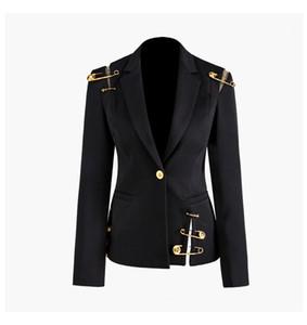 Новая осень зима женщины черные пиджаки голова льва золотые кнопки булавки пиджак пальто с длинным рукавом тонкий офис деловой костюм куртка A114