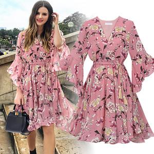 플러스 사이즈 5XL 패션 봄 여성의 드레스 여성 캐주얼 스타일 슬림 달콤한 V - 목에 넥타이 패션 느슨한 인쇄는 열 올리고 탑