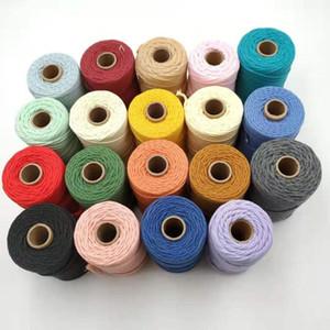 colorido 2 mm X 100 metros 3-strand cadena cuerda de algodón trenzado para proyecto artesano artesanía macrame