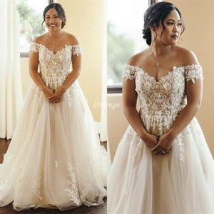 Elegant Plus Size Wedding Dresses Off The Shoulder Lace Appliques Lace-Up Back A-Line Country Boho Bride Dresses abiti da sposa