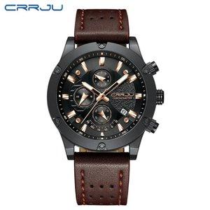 CRRJU Fashion Watch Men New Design Chronograph Big Face Quartz Wristwatches Men's Outdoor Sports Leather Watches orologio uomo
