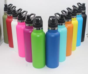 Notizie 12oz 18oz 21oz 24 once bottiglia d'acqua doppia parete vuoto bottiglia di sport in acciaio inox standard bocca bottiglia di viaggio con tappo sportivo