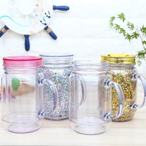 Tazze Jar Fshion 550ml plastica Mason barattolo con cannucce creativo del caffè boccali di birra succo di tazza portatile della tazza Outdoor