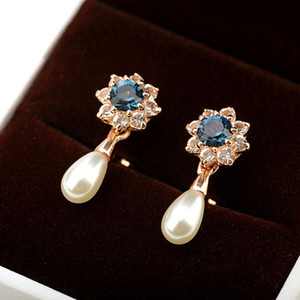 clip on earrings without piercing jewellery for Mother's Day fashion simulated pearl flower earings wedding party wedding bijoux gift