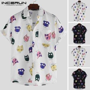 INCERUN Männer Hemd Cartoon Gedruckt Kurzarm Lose Beiläufige Hawaiihemd Männer Sommer Coole Mode Streetwear Paar Hemden 2019