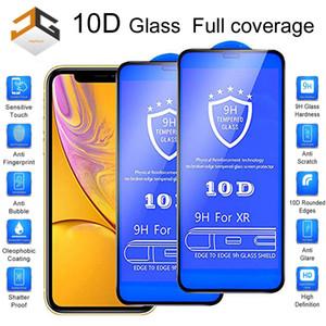 iPhone XR XS XS MAX 6 7 8 PLUS 11 11 pro max 9H Karbon Elyaf Ekran Koruyucu Kırılmaz Camdan için 100pcs 10D Tam Kapsam Ekran Koruyucu