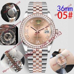 16 hochwertige Frauen-Mode-Uhr Bling voller Diamant Iced Out Uhren 36mm Luxuxentwerfer Automatik-Uhrwerk Partei Armbanduhr