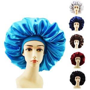 Frauen Schlafen Hat Nightcap Solid Color New Soft Silk Breitkrempigen elastisches Stirnband Dusche Cap Satin-lange Haarpflege Bonnet Kappen 6 Farben