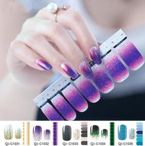 Tatyking Nail Art Decorações Adesivos Cobertura Completa Auto Adesivo Nail Art Stickers Glitter Gradiente Decalques De Água Brilhante Manicure