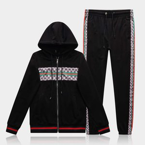 M-3XL 2020 spring and autumn Italian classic red and green stripes men and women zipper cardigan beam foot pants casual sportswear