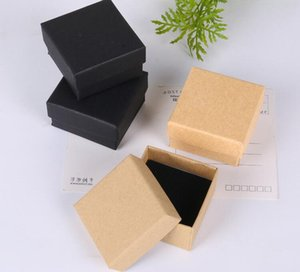 black Kraft paper color Jewelry Box  Lovers Ring Box Gift Package  Kraft paper Box For Women Jewelry Storage box display 5*5*3.8cm