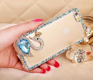Designer-Luxury Rhinestone Swan grande diamante Caixa do telefone TPU Capa para iPhone x xr max 6 7 8plus Tampa