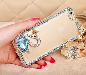 Designer-Luxury Diamond Swan Cover Rhinestone Phone Xr TPU 8plus Max For Case X Back Iphone 6 7 Big Cover Jojxb