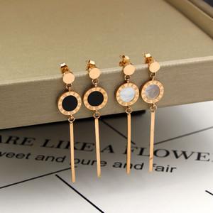 Moda orecchini in oro bianco e nero numeri romani lunghi orecchini da donna in oro rosa con nappe