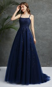 Navy Blue A Line Lace Prom Evening Dresses With Straps Applique Open Back Tulle Long Formal Pageant Gowns Beaded Robe De Soiree