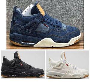 Calidad superior 4 4s Denim Travis Blue Basketball Shoes Men Blue Black Blanco Denim Jeans Deportes zapatillas deportivas Nuevo con caja